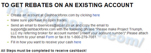 CashBackForexでの必要事項の確認