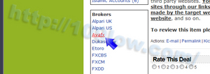 AVA FXのリンクをクリックする