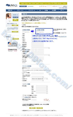 AVA FXの口座開設を申し込む記入例