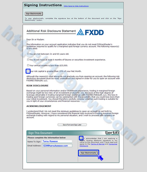 FXDDのAdditional Risk Disclosureを署名して送付する