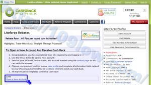 指定されるリンク先からLiteForex口座を開設する