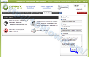 LiteForexの登録内容をCBFの問い合わせフォームを利用して送信する