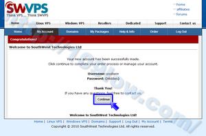 「Continue」ボタンをクリックしてSWVPSのアカウント作成を完了させる
