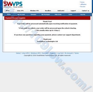 SWVPSの申し込み手続きが完了