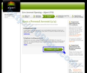 Confirmation codeの入力とパスワードの設定